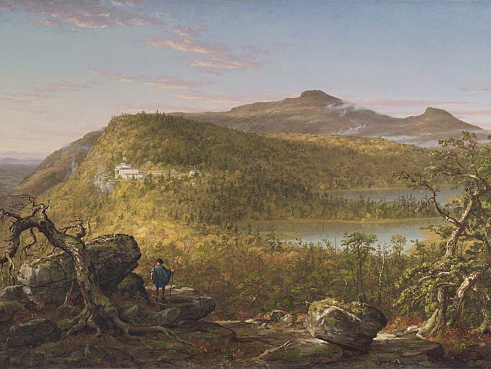 Thomas Cole A View of the Two Lakes and Mountain House, Catskill Mountains, Morning stretched canvas art print