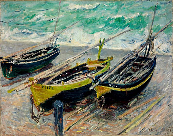 Claude Monet Three Fishing Boats stretched canvas art print