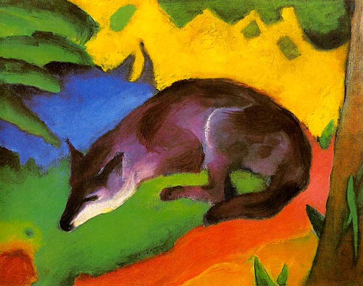 Franz Marc Blue Black Fox stretched canvas art print