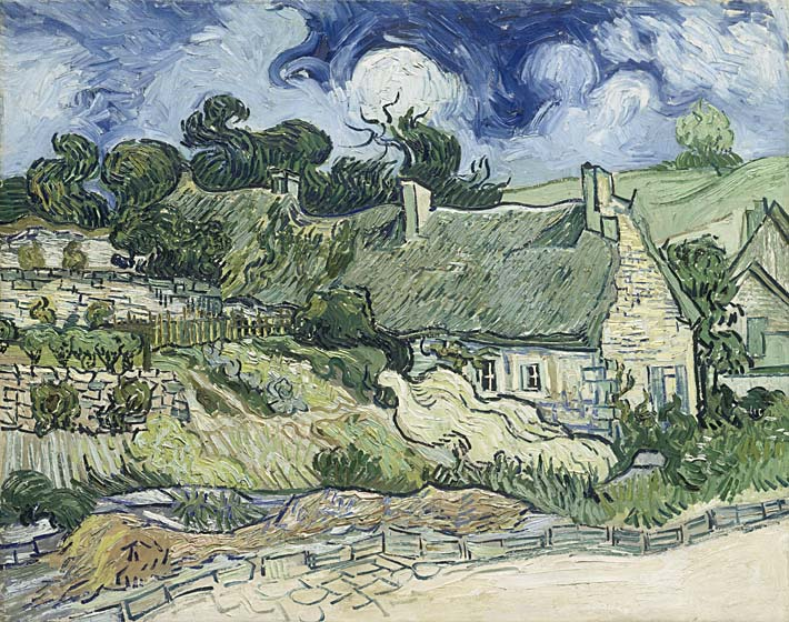 Vincent van Gogh Thatched Cottages at Cordeville stretched canvas art print