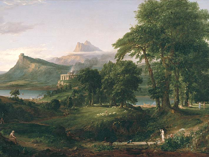 Thomas Cole The Course of Empire The Arcadian or Pastoral State stretched canvas art print
