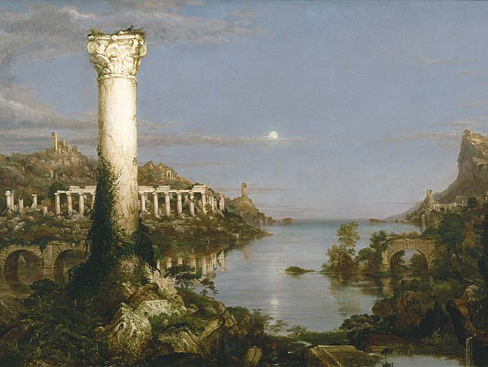 Thomas Cole The Course of Empire Desolation stretched canvas art print