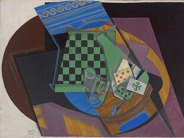 Juan Gris Checkerboard and Playing Cards stretched canvas art print