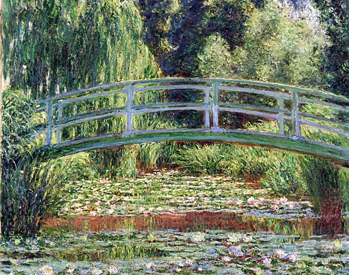 Claude Monet The Japanese Footbridge and the Water Lily Pool, Giverny stretched canvas art print