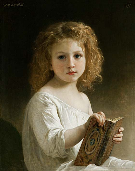 William Bouguereau The Story Book stretched canvas art print
