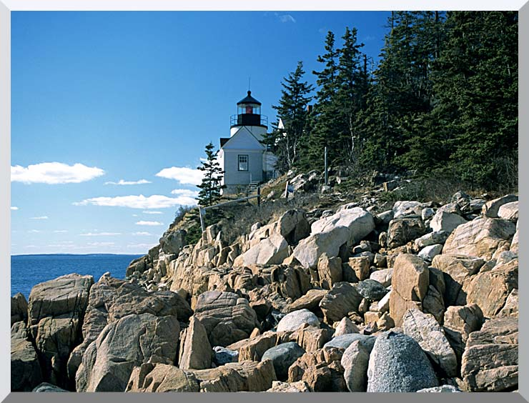 Brandie Newmon Bass Harbor Head Lighthouse stretched canvas art print