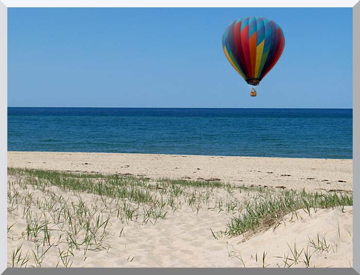Brandie Newmon Hot Air Balloon at the Beach stretched canvas art print