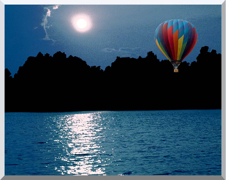 Brandie Newmon Hot Air Balloon at Night stretched canvas art print