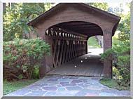 Brandie Newmon Covered Wooden Bridge stretched canvas art