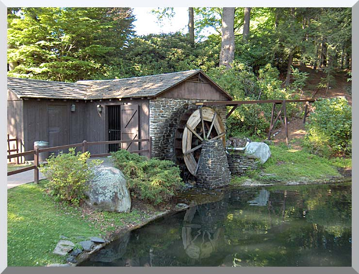 Brandie Newmon Rustic Water Mill Wheel stretched canvas art print