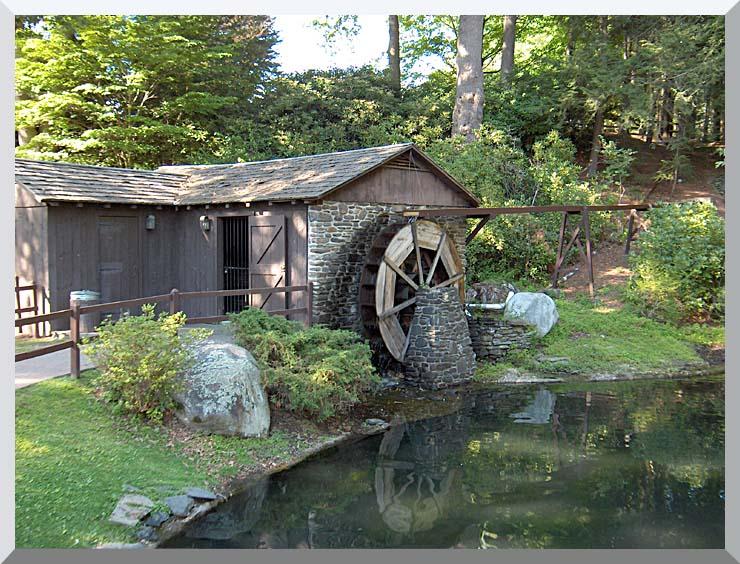 Brandie Newmon Rustic Water Mill Wheel stretched canvas art print