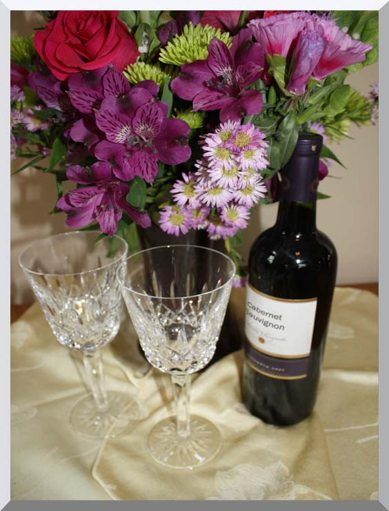 Kim O'Leary Photography Flowers and Wine stretched canvas art print