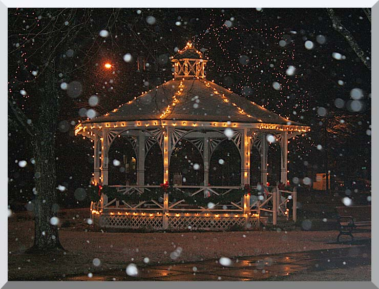 Kim O'Leary Photography Snowy Gazebo, Easthampton Massachusetts stretched canvas art print