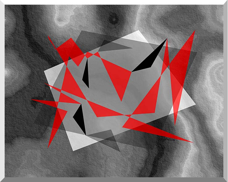 Lora Ashley Fragments Unite (Red and Black) stretched canvas art print