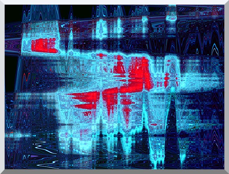 Lora Ashley Light in Blue and Red stretched canvas art print