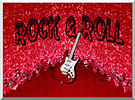 Lora Ashley Rock And Roll Guitar stretched canvas art