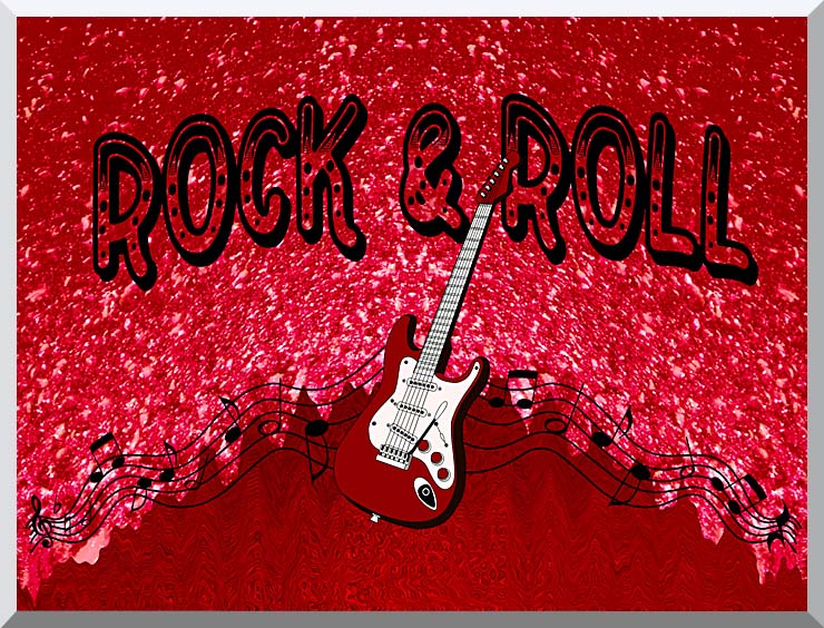 Lora Ashley Rock and Roll Guitar stretched canvas art print