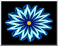 Lora Ashley Contemporary Blue Flower stretched canvas art
