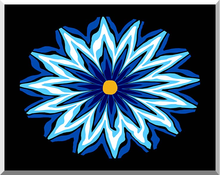 Lora Ashley Contemporary Blue Flower stretched canvas art print
