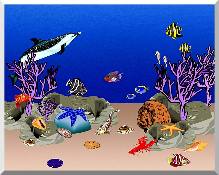 Lora Ashley Ocean Scene Underwater stretched canvas art print