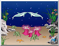 Lora Ashley Kissing Dolphins stretched canvas art