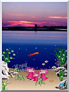 Lora Ashley Ocean Scene Above And Below stretched canvas art