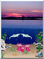Lora Ashley Lighthouse Above Dolphins Below stretched canvas art