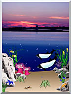 Lora Ashley Lighthouse Above Whales Below stretched canvas art