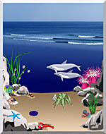 Lora Ashley Dolphins Below The Ocean Waves stretched canvas art