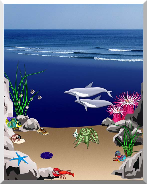 Lora Ashley Dolphins Below the Ocean Waves stretched canvas art print
