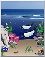 Lora Ashley Whales Below The Ocean Waves stretched canvas art