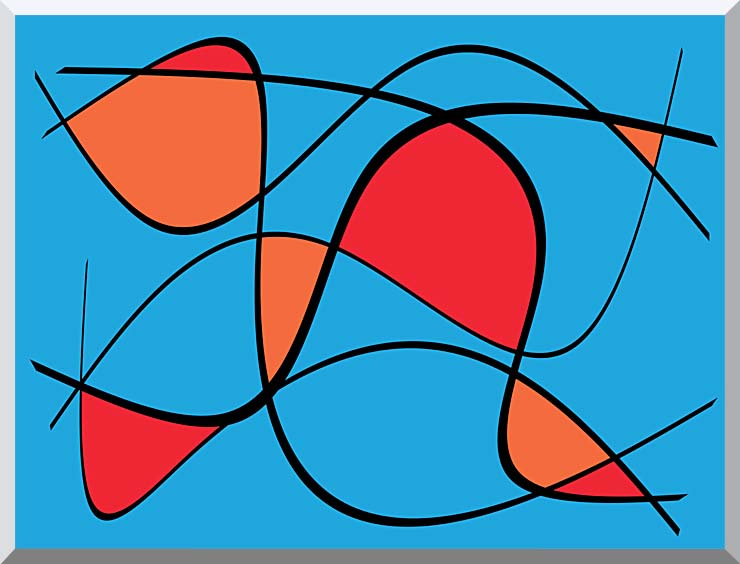 Lora Ashley Blue and Red Abstract stretched canvas art print