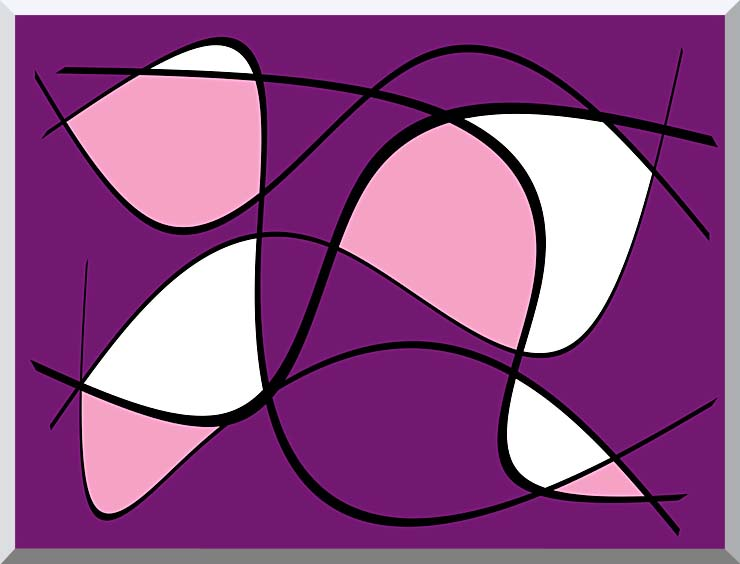 Lora Ashley Purple and Pink Abstract stretched canvas art print