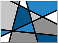 Lora Ashley Blue And Grey Abstract stretched canvas art