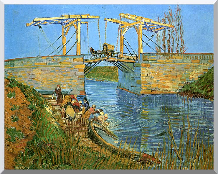 Vincent van Gogh The Langlois Bridge at Arles with Women Washing stretched canvas art print