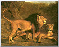 Jacques Laurent Agasse Two Lions Life Size stretched canvas art