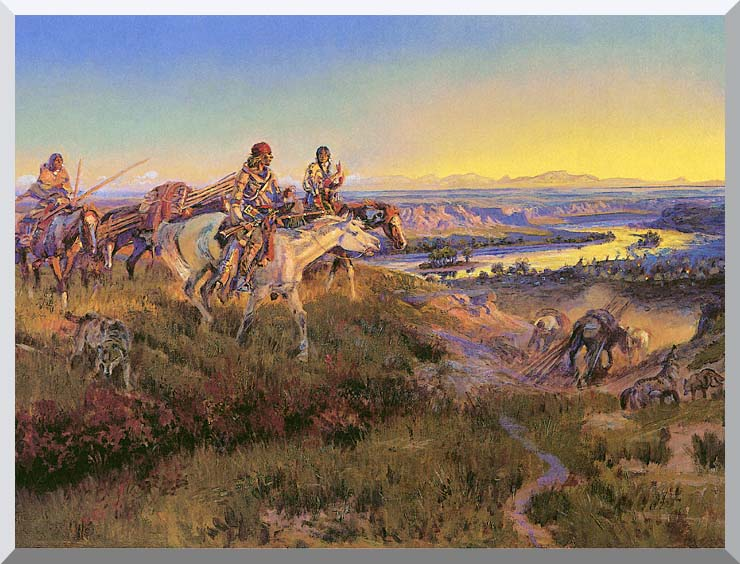 Charles Russell When White Men Turn Red stretched canvas art print
