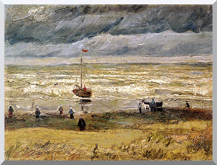 Vincent van Gogh Beach at Scheveningen in Stormy Weather stretched canvas art print