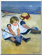 Mary Cassatt Children Playing On The Beach stretched canvas art