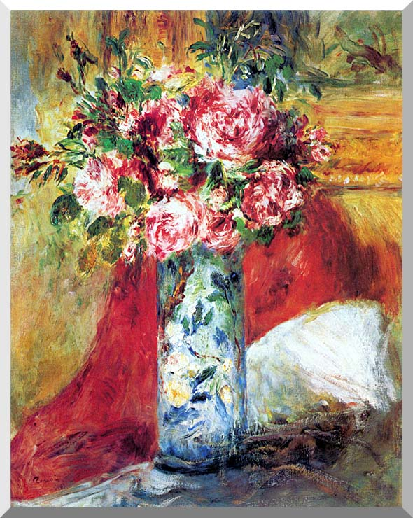 Pierre Auguste Renoir Roses in a Vase stretched canvas art print