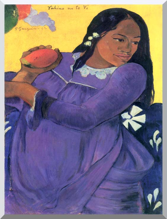 Paul Gauguin Woman with Mango stretched canvas art print