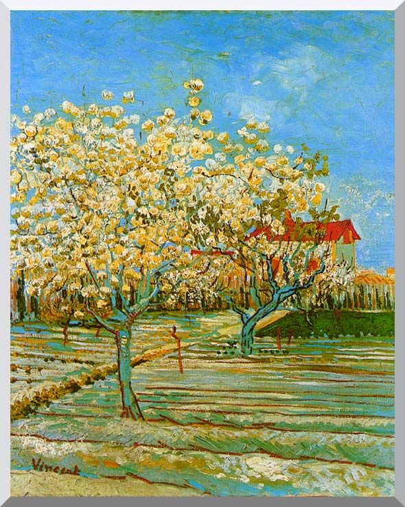 Vincent van Gogh Orchard in Blossom stretched canvas art print