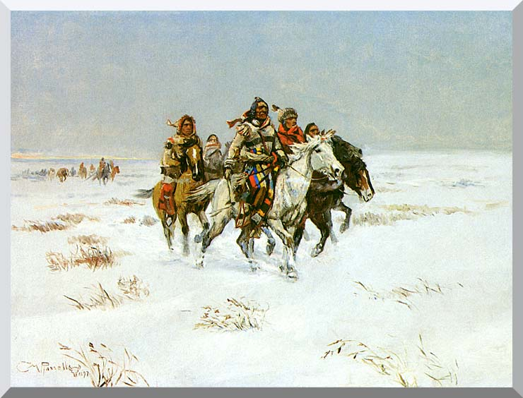 Charles Russell The Snow Trail stretched canvas art print
