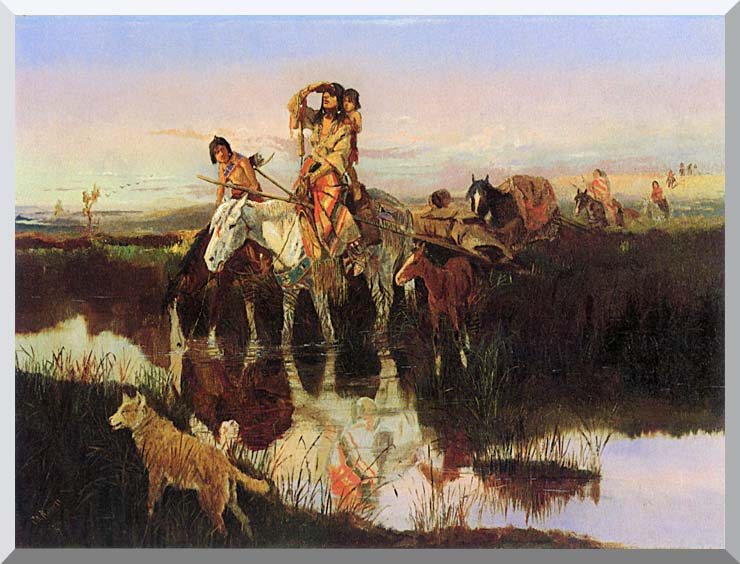 Charles Russell Bringing Up the Trail stretched canvas art print