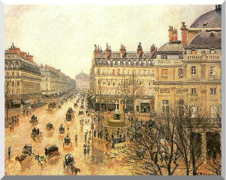 Camille Pissarro Place du Theatre Francais, Rain stretched canvas art print