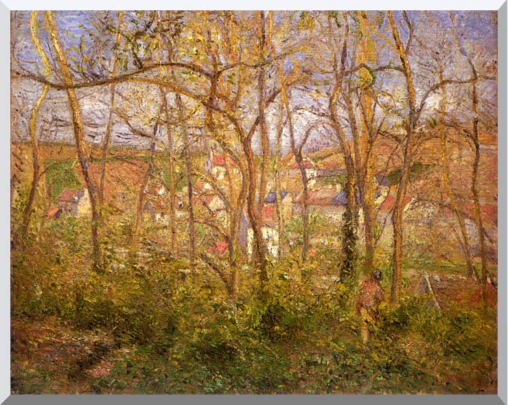 Camille Pissarro Wooded Landscape at L'Hermitage, Pontoise stretched canvas art print