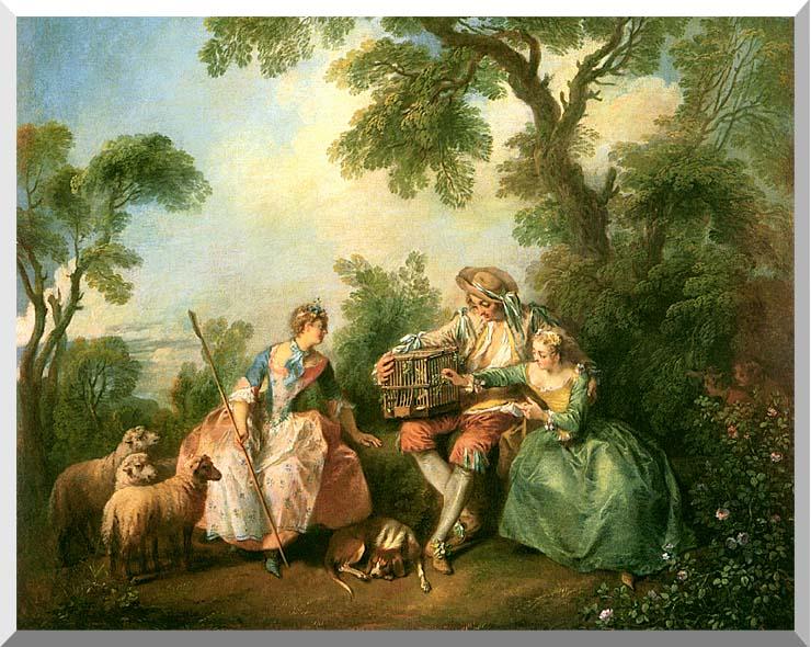 Nicolas Lancret The Birdcage stretched canvas art print