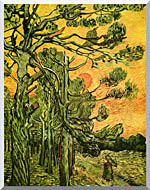 Vincent Van Gogh Pine Trees Against A Red Sky With Setting Sun stretched canvas art