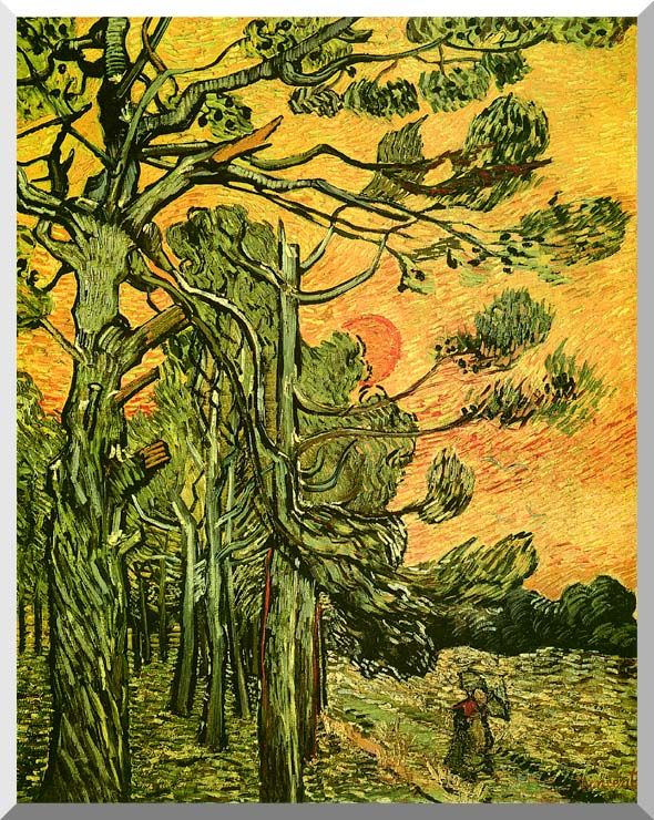 Vincent van Gogh Pine Trees Against a Red Sky with Setting Sun stretched canvas art print