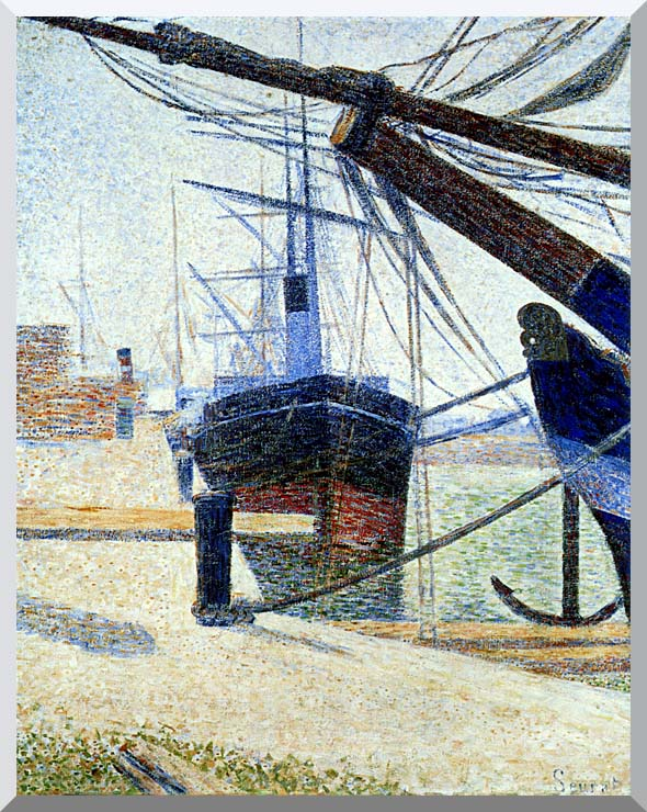 Georges Seurat The Harbor at Honfleur stretched canvas art print
